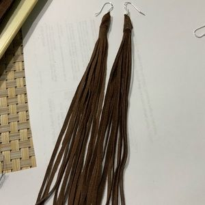 Brown leather log tassel silver earrings new